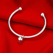Womens 925 Sterling Silver Love Cuff Bell Pendant Ball End Bangle Bracelet #B228