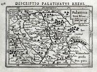 GERMANY, HEIDELBERG, FRANKFURT, RHINE VALLEY, BERTIUS original antique map 1618