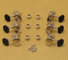 008-1000-045 Open Gear Nickel Guitar Tuners Black Butter Bean Buttons 3+3