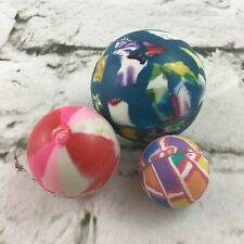 Super Bouncy Balls Lot Of 3 Rubber Multi Color Different Sizes Fun Classic Toys