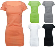 Womens T Shirt  Pocket Front Ruched Jersey Plain Long Top Vest Tee Cap Sleeve