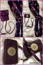 💜 MULBERRY Daria Patent Leather Purple iPhone Case Mini Clutch Bag USED 💜