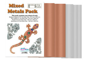 Peak Dale Mixed Metals Pack Pewter Aluminium & 2 x Copper Sheets