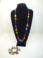 """CHUNKY 36"""" NECKLACE and Stretch BRACELET of Chain &  Faux Semi-Precious Stones"""