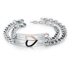 1pc Couple Bracelet Stainless Steel Jewelry Lovers Half Heart Bracelet Jewellery