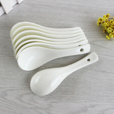 4 pcs White Porcelain Ceramics Soup Rice Spoons Tableware Kitchen Home NEW