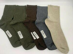 5 pr Women's Cotton/Bamboo Crew Socks - Green, Oatmeal, Grey, Brown  9-11