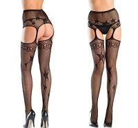 New Ladies Women Sexy Black Star Fishnet Suspender Pantyhose Tights Patten 8-12