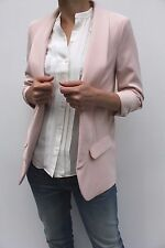 Very Ladies Pink Open Front Long Sleeve Smart Fitted Suit Blazer Jacket 8 - 12