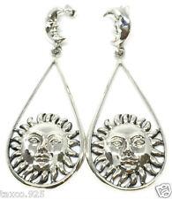 Silver Sun Moon Earrings Mexico Molina Taxco Mexican 925 Sterling