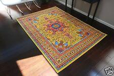 8x10 Isfahan YELLOW Orange Blue Oriental Modern Persian Multicolor Area Rug 8x11