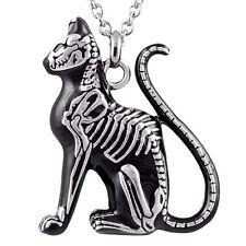 Controse Big Cat Skeleton Black Steel Pendant Necklace Feral Feline Bones CN060