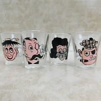 4 Vintage Roving Rolling Eye SHOT GLASSES Set Clear Glass Funny Humor Barware