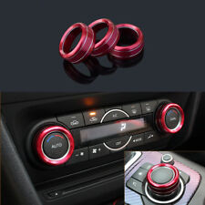 3x Red Alloy A/C Adjust ECON Buttons Trim Cover Ring For Mazda3 Mazda6
