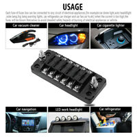 6-Way LED Blade Fuse Box With Negative Bus Bar And Cover Car Boat Marine  S8