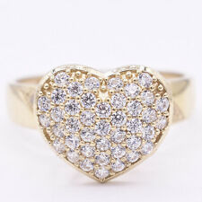 Women's Heart CZ Stone Engagement Ring Real Solid 10K Yellow Gold Size 8