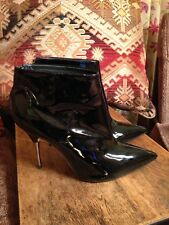 Stunning Topshop Black Patent Leather Stiletto Ankle Boots Suze 7
