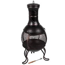 Chiminea Small Black And Antique Gold Steel Patio Outdoor Charcoal Fire Pit Bowl