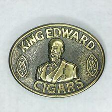 Vintage King Edward Cigars Belt Buckle Brasstone Solid S&F Rockabilly Cowboy