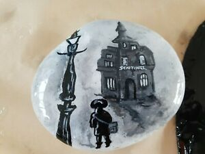 HAND PAINTED FOGGY EVENING WALK HOME   PEBBLE ROCK