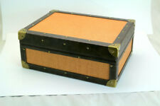 COHIBA Yellow Hopsack Leather Lacing Cigar Humidor W/Hygrometer Humidifier