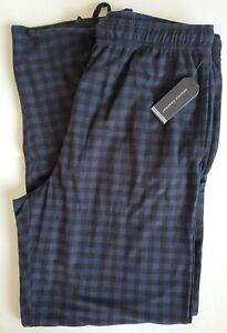 Nautica Pajama Lounge Sleep Pants Black Navy Buffalo Plaid  Pockets  M Medium