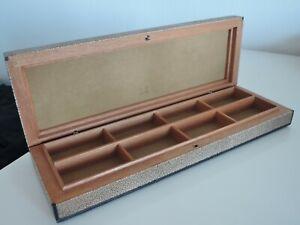 ultra rare Vintage Dunhill Cufflink Box, handmade , Leather, wood, ....NOS