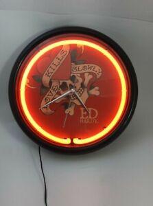 Ed Hardy Neon Lighted Clock Kills Love Slowly Skeleton