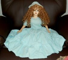 Antique Vintage French Boudoir Bed Doll Red Hair Comp. Fabric Gingham blue/white