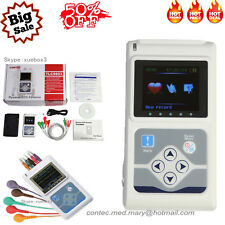 New 3-Channel ECG/EKG Holter System Analyzer 24H Software Recorder Monitor USA