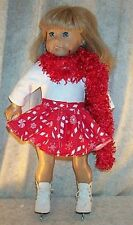 "Doll Clothes Made 2 Fit American Girl 18"" inch Ice Skate 3p Candy Cane Red White"
