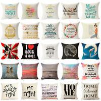 Romantic Words Cotton Linen Pillow Case Sofa Throw Cushion Cover Home Decor Gift