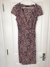 Autograph Red Wrap Tea Dress Ruched Waist Office Work Size 8