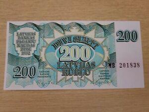 🇱🇻 Latvia 200  Rublu  1992 UNC   P-41 Currency Banknote 061521-15