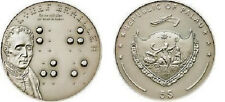 2009 Palau Large Silver $5 Braille-Alphabet f/Blind