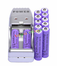 12X AAA 3A 1800mah1.2V NiMH rechargeable batterie pourpre +USB Chargeur