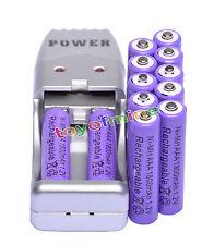 12X Batería recargable NiMH AAA 3A 1800mah 1.2V púrpura + Cargador USB
