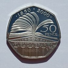 2000 Proof Fifty Pence 150th Anniversary of the Public Libraries  50p Coin Rare