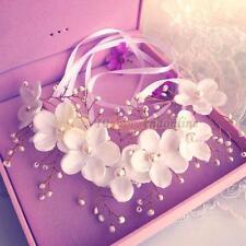 Fashion Women Flower Pearl Bridal Headband Hairband Wedding Prom Hair Accessory