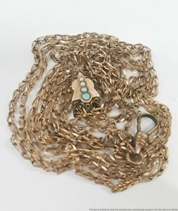 Antique Victorian Cam & Co Gold Filled Opal Seed Pearl Slide Pocket Watch Chain