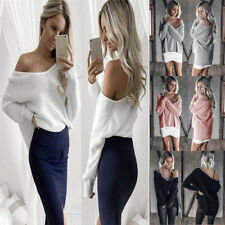 Sexy Women Off Shoulder Crop Tops Sweater V Neck Loose Pullovers Casual Jumper