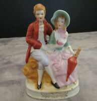 "VINTAGE VICTORIA STYLE MAN & WOMEN SITTING ON BENCH FIGURINE JAPAN 5 1/2"" TALL"