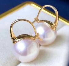 Huge AAAA 10-11mm natural white pink south sea round pearl earrings 18k gold