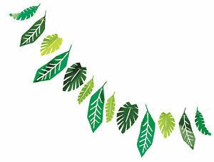 Tropical Foil Palm Leaf Party Banner Bunting Decoration Jungle Hawaiian Dinosaur