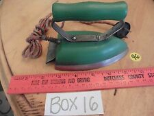 Vintage Utility Clothing Iron mini travel 115v60w wooden handle cloth cord blue