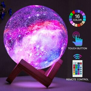 16 Colors LED USB Star Galaxy Moon Lamp w/ Stand Remote 3D Bedroom Night Light