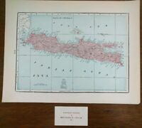 "Vintage 1902 JAVA INDONESIA Atlas Map 14""x11 Old Antique Original JAKARTA COFFEE"