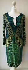 BCBGMAXAZRIA DRESS M UK10/12 EU38/40 US6/8 green silk cotton midi long sleeve...