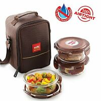Cello Airtight Glass Lunch Box Tiffin 3 Pcs Set Microwave Safe With Carry Bag