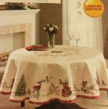 """Better Homes & Gardens Christmas Heritage Deer Tablecloth 70"""" Round LIMITED ED"""